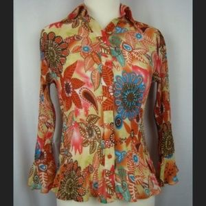 Colorful Floral Top Fancy Sleeves Small